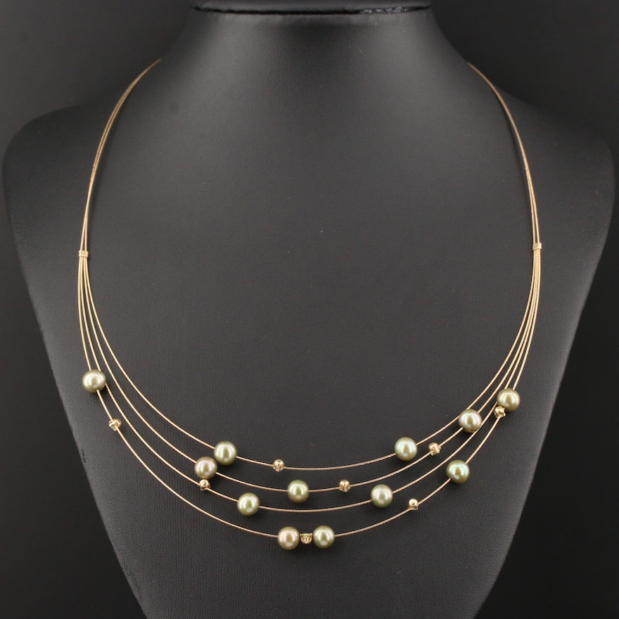 14K Yellow Gold Quartz and Cultured Pearl Multi-Strand Neck Wire Necklace