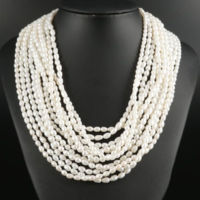 Cultured Pearl Rice Beaded Multi-Strand Necklace
