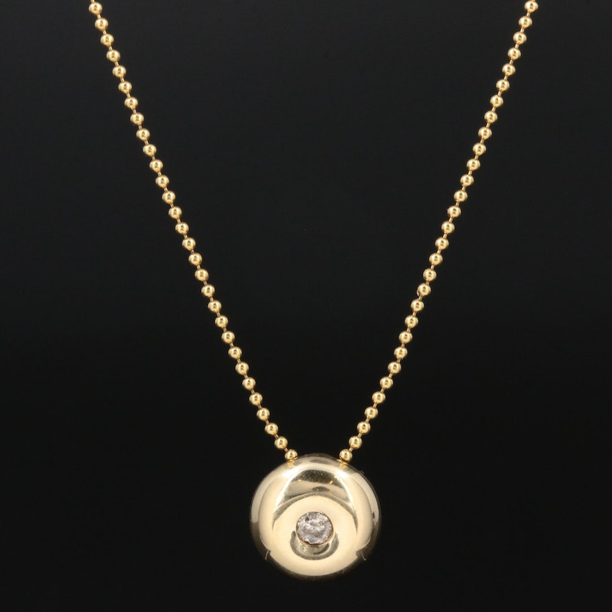 14K Yellow Gold Diamond Pendant Necklace Featuring Bead Chain