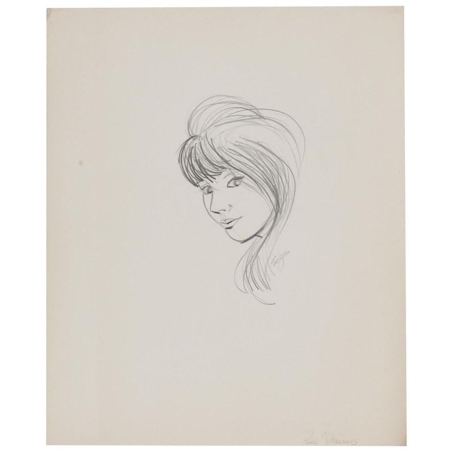 Franklin Folger Graphite Portrait Drawing