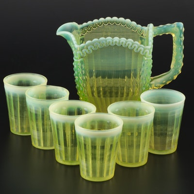 "Northwood ""Alaska"" Vaseline Glass Pitcher and Tumblers, Early 20th Century"