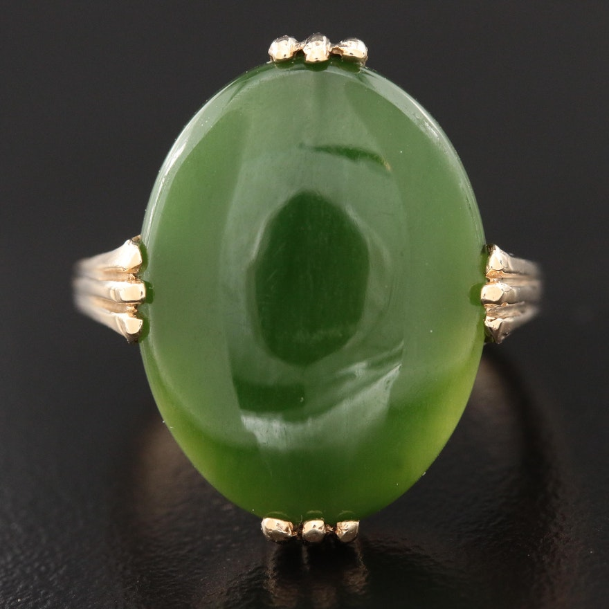Vintage 10K Yellow Gold Nephrite Ring