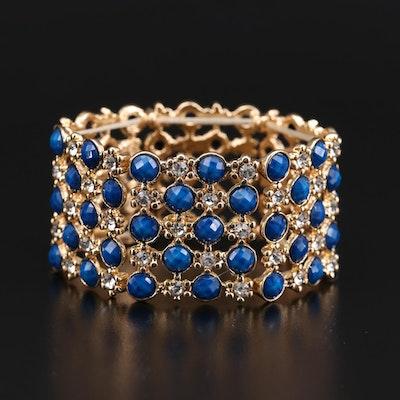 Amrita Singh Blue Rhinestone Openwork Panel Bracelet