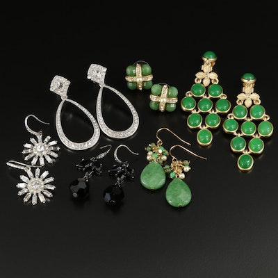 Collection of Dangle and Button Earrings Featuring Carolee
