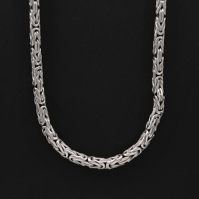 Sterling Silver Byzantine Link Chain Necklace