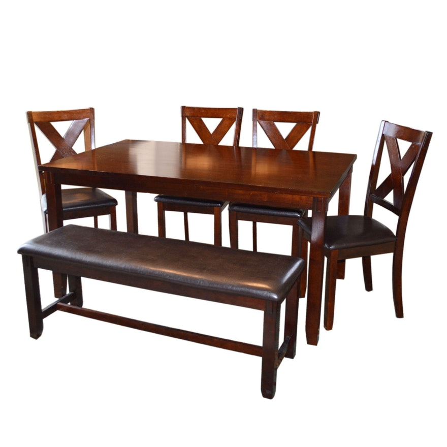 Crown Mark Mahogany Finish Kitchen Table, Chairs and Bench