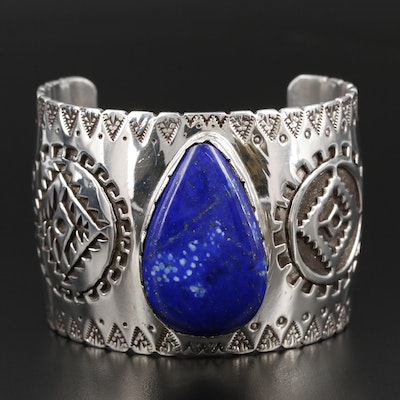 Chee and F. Keams Navajo Diné Sterling Lapis Lazuli Overlay and Stampwork Cuff