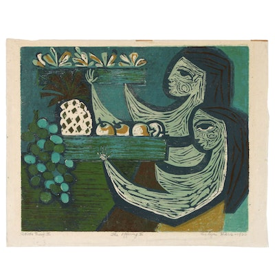 "Evelyn Marx Woodcut ""The Offering II"", 1960"