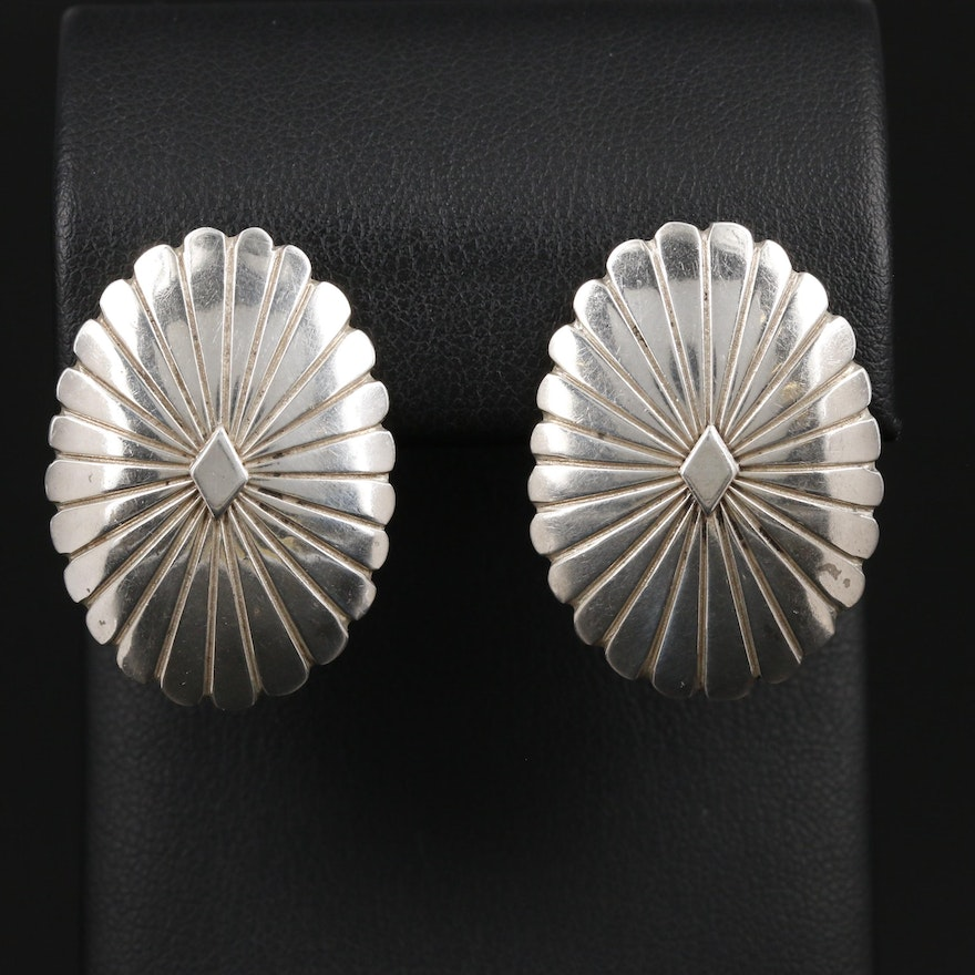 C. Wylie Navajo Diné Sterling Silver Oval Concha Earrings