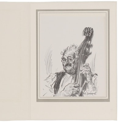 Paul Ashbrook Lithograph of Man with Cello