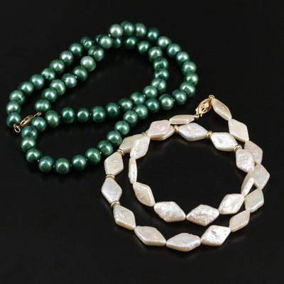 Cultured Pearl Necklaces with 14K Yellow Gold Clasp