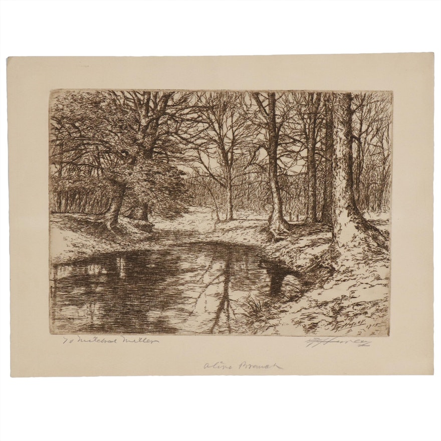 """Edward T. Hurley Landscape Etching """"Olive Branch"""""""