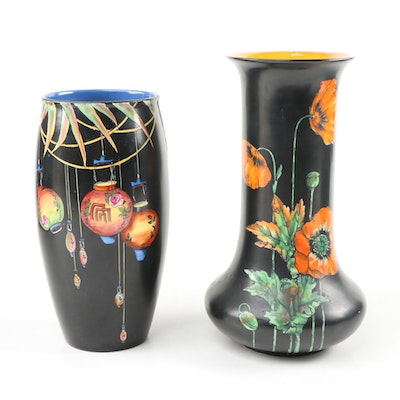 "Crown Ducal Ware ""Poppy"" and ""Chinese Lanterns"" Vases"