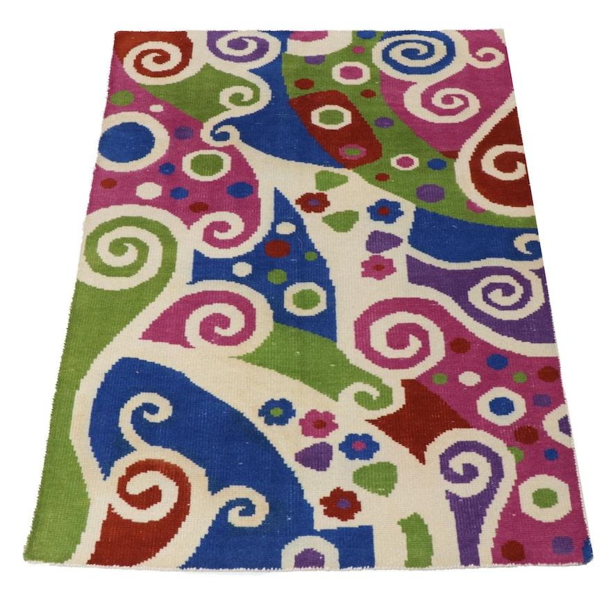 4'7 x 6'8 Hand-Knotted Abstract Wool Rug