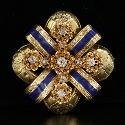 Antique Renaissance Revival 18K Yellow Gold Diamond and Enamel Brooch