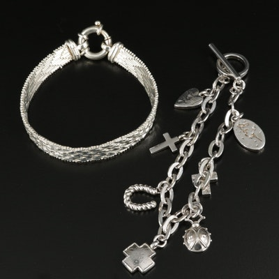 Sterling Silver Charm and Ribbon Link Bracelets