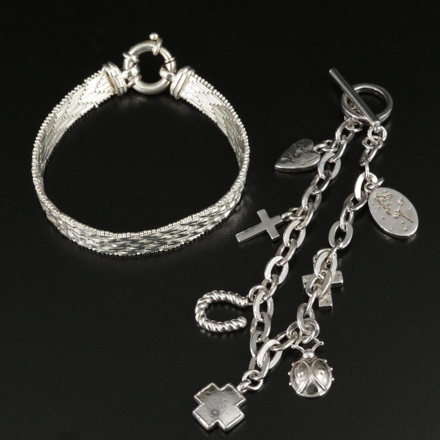 Sterling Silver Charm and Ribbon Link Bracelets