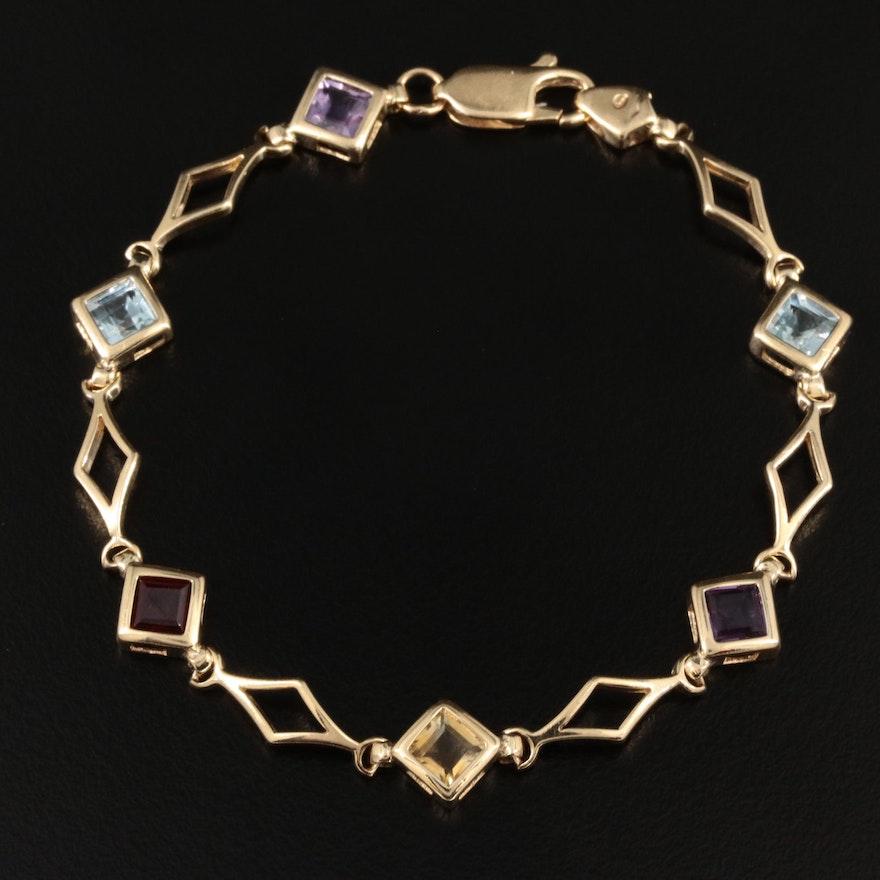 14K Yellow Gold Amethyst and Gemstone Bracelet