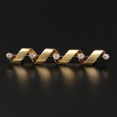 Vintage 14K Yellow Gold Diamond Twisted Ribbon Bar Brooch