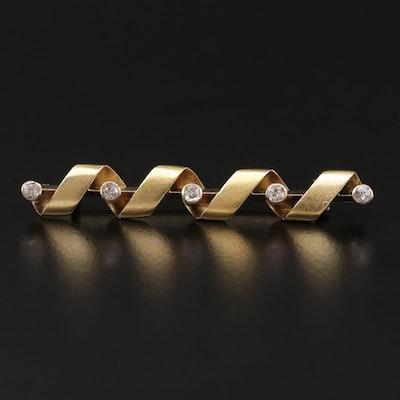 Antique 14K Yellow Gold Diamond Twisted Ribbon Bar Brooch