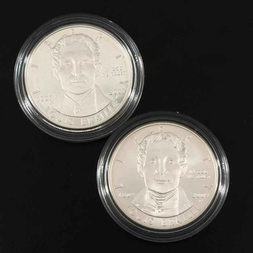 Two 2009-P Louis Braille U.S. Commemorative Silver Dollars