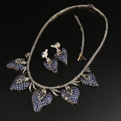 18K Gold Sapphire and 9.64 CTW Diamond Necklace and Earring Set with Extension