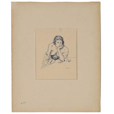Benjamin Miller Nude Figural Ink Drawings