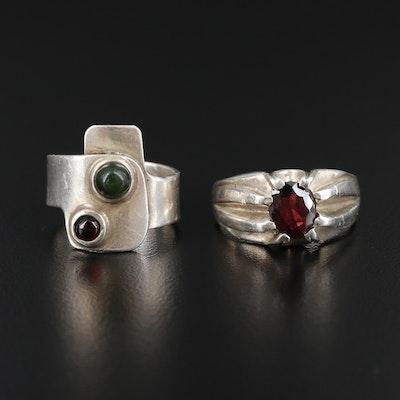 Sterling Silver Garnet and Nephrite Rings