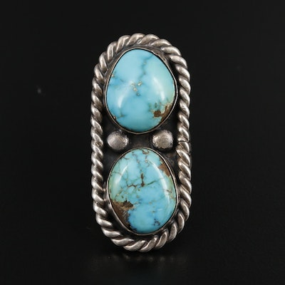 Cipriano Romero Southwestern Style Sterling Silver Turquoise Pointer Ring