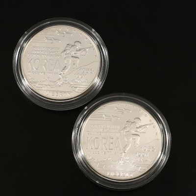 Two U.S. Commemorative Silver Dollars Including  a 1991-D Korean War