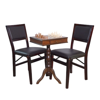 Italian Game Table and Linon Home Décor Folding Chairs