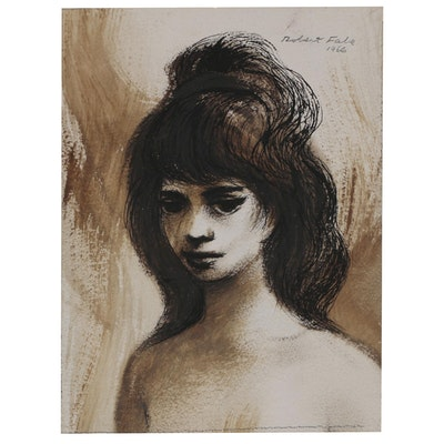 """Robert Fabe Ink and Sepia Wash """"Study"""", 1966"""