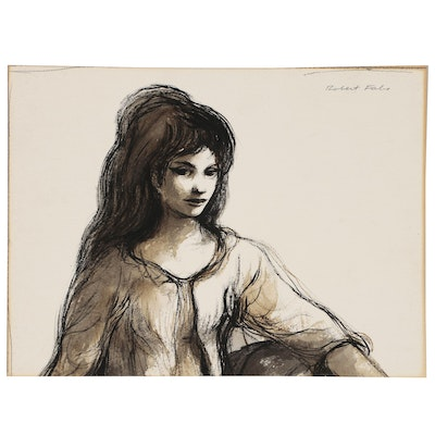 """Robert Fabe Ink and Sepia Wash """"Figure Study"""""""