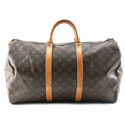Louis Vuitton Keepall 50 in Monogram Coated Canvas and Leather