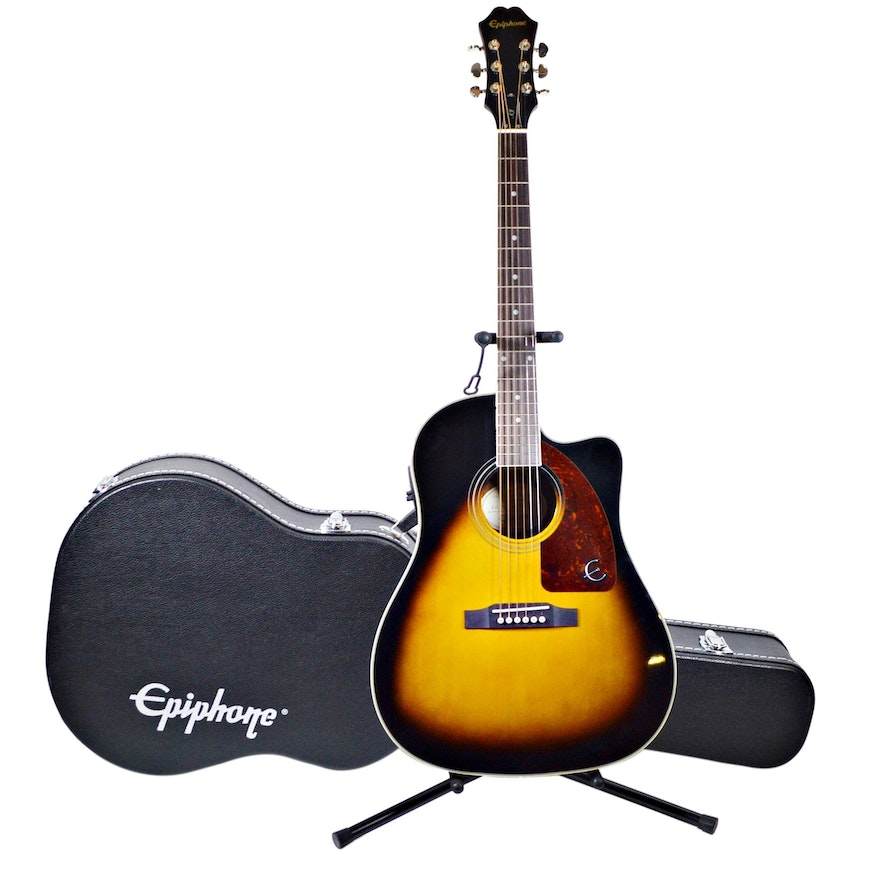 Epiphone AJ-210CE Outfit Acoustic-Electric Guitar and Hard Carrying Case