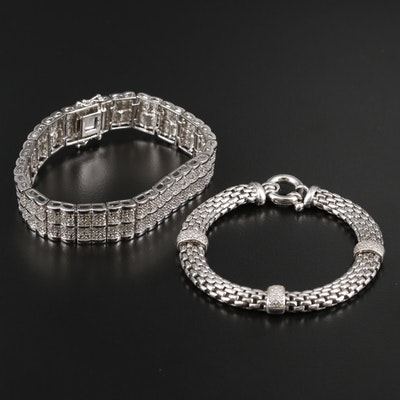 Sterling Silver Diamond Station and Bar Bracelet