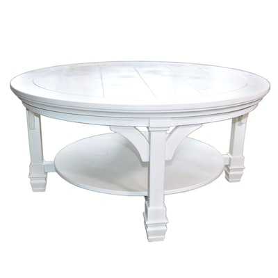 Ashley Furniture Off-White Painted Round Cocktail Table