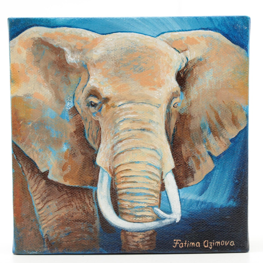 Fatima Taylor Acrylic Painting of an Elephant