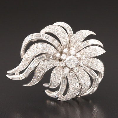 1950s 18K White Gold 9.30 CTW Diamond Floral Brooch
