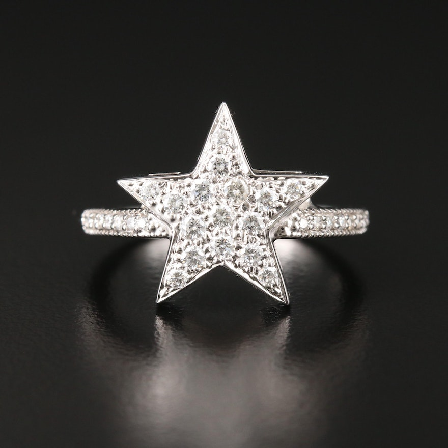 Honora 18K and 14K White Gold Diamond Star Ring