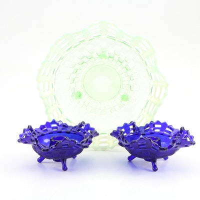 Fenton Vaseline Reticulated Basket Weave Footed Dish and Cobalt Candleholders