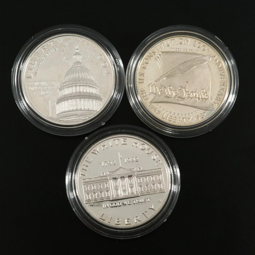 Three U.S. Commemorative Silver Dollars Including a 1992-W White House Proof
