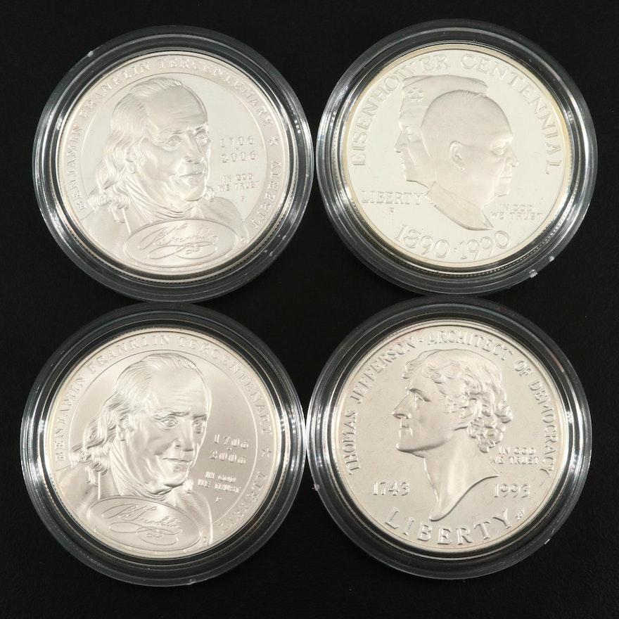 Four U.S. Commemorative Silver Dollars Including a 1990 Eisenhower