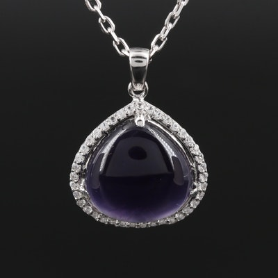 Sterling Silver Amethyst and Sapphire Pendant Necklace