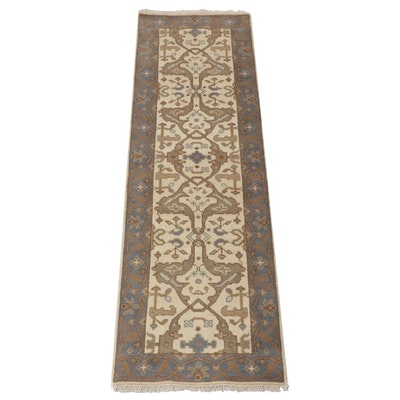 2'5 x 8'1 Hand-Knotted Indo-Turkish Oushak Runner