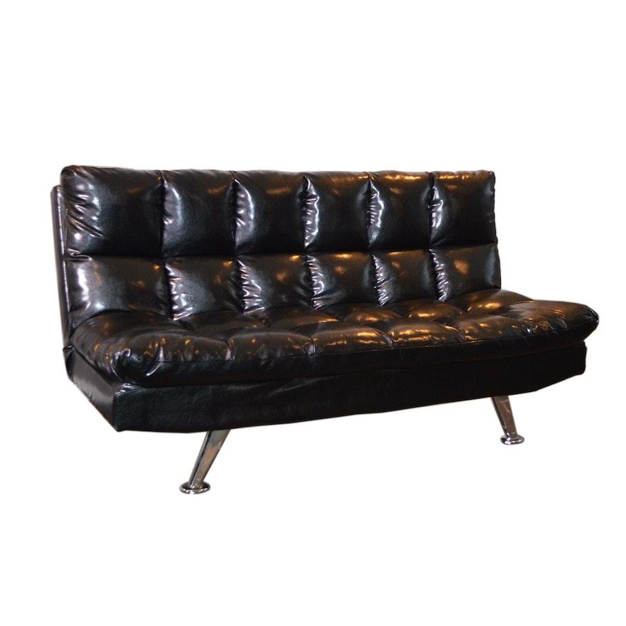 """Crown Mark """"Sundown"""" Black Faux Leather Adjustable Sofa"""
