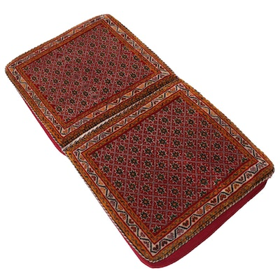 Persian Qashqai Shiraz Poshti Rug-Lined Wool and Corduroy Seat Cushion, 1960s