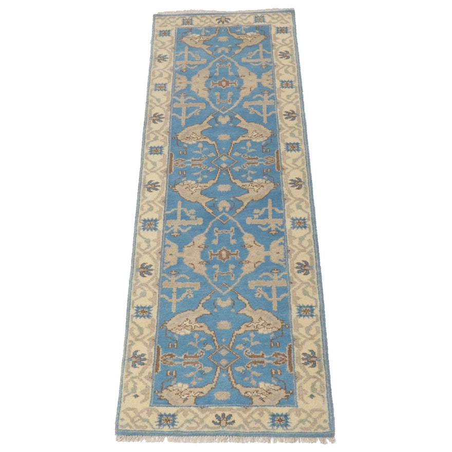 2'7 x 8'1 Hand-Knotted Indo-Turkish Oushak Runner