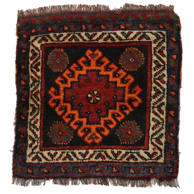 2'0 x 2'2 Hand-Knotted Persian Qashqai Shiraz Rug, 1960s
