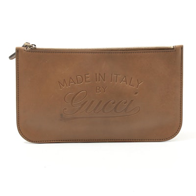 "Gucci ""Made In Italy By Gucci"" Embossed Leather Zip Pouch"